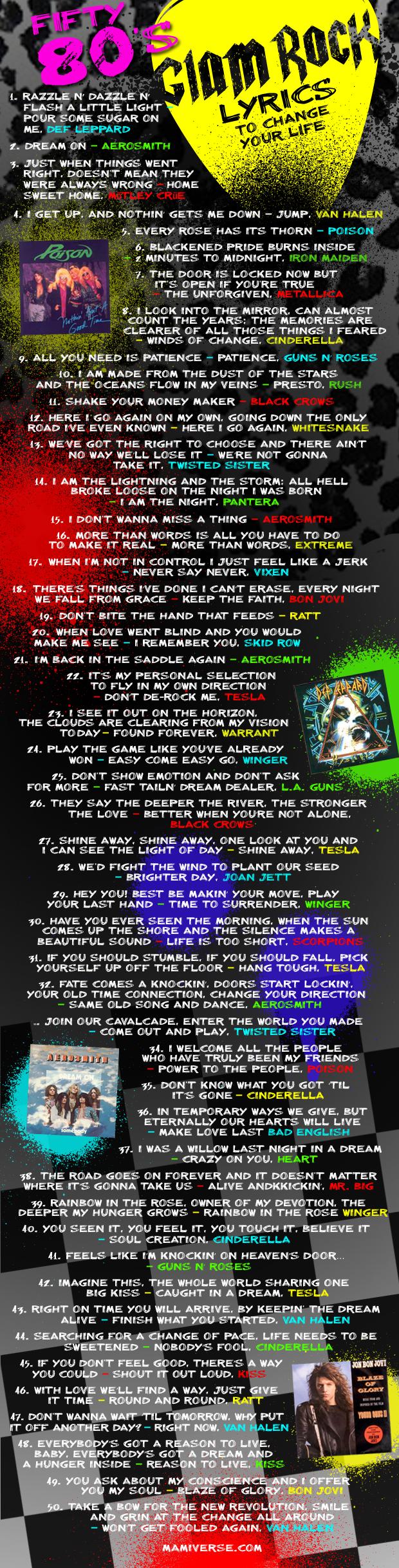 Fifty 80's Glam Lyrics