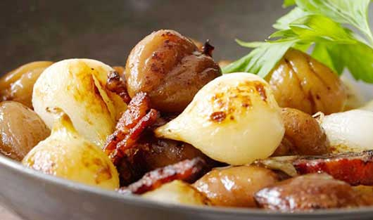 Leite-Sautted Onions Chestnuts and Bacon