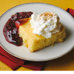 Rodriguez-Corn Cake with Fruit & Whipped Cream