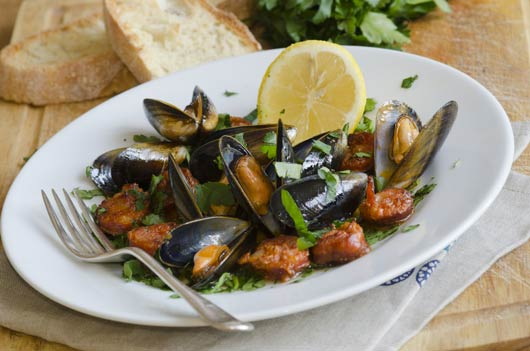 Spicy Mussels with Andouille Sausage-Main