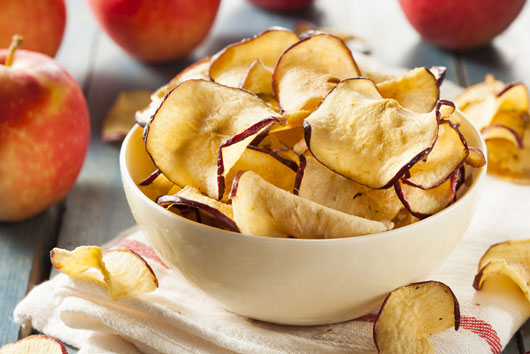 Crispy Apple Chips with Sage and Maple-Vanilla Yogurt Dip
